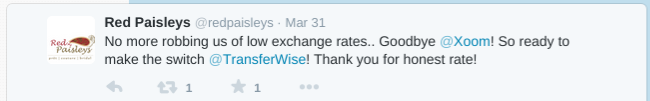 Customer complaints about Xoom's higher prices and switches to TransferWise