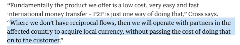 TransferWise Money Transfer: quote by TransferWise Head of USA, Joe Cross, Apr 8, 2015