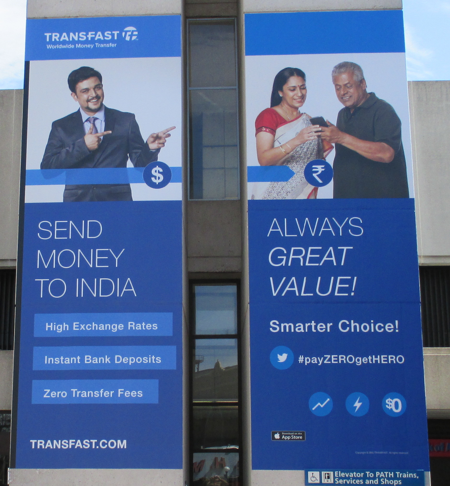 Transfast money transfer ads in New Jersey for sending money from USA to India, April 13, 2015