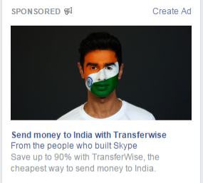 TransferWise Money Transfer: Facebook ads for sending money from USA to India, April 2015