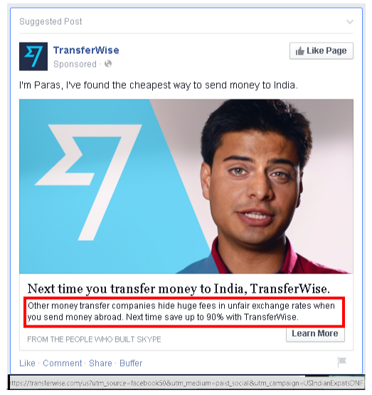 TransferWise Money Transfer: Facebook ads for sending money from USA to India, March 2015