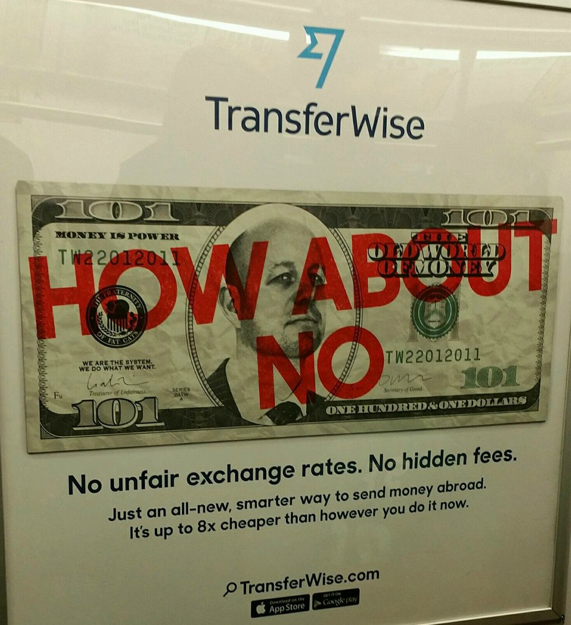 TransferWise Money Transfer: billboards in New York city subway, March 2015