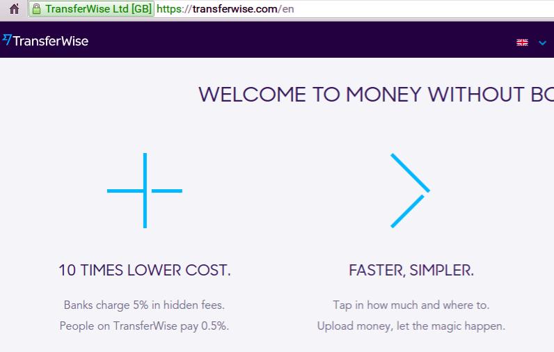 TransferWise Landing Page, Aug 16, 2015