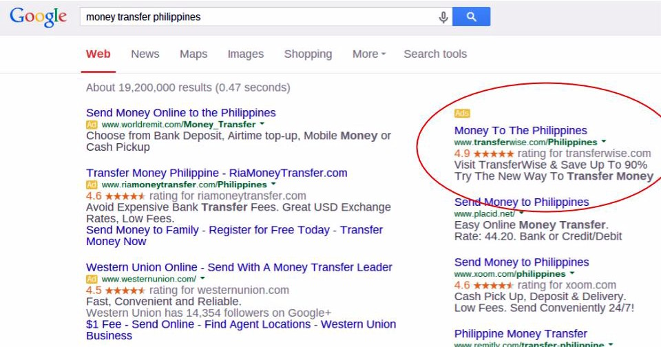 TransferWise Money Transfer Google Ads April 26, 2015