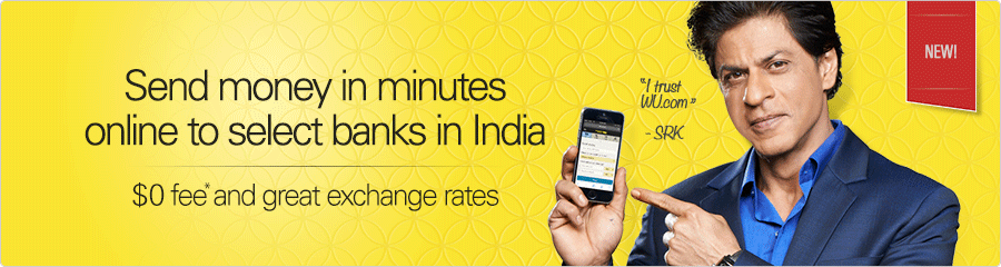 Western Union: ad for zero fees, August 2015