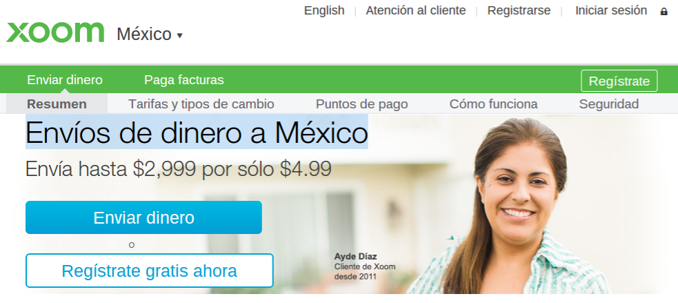 Sending money to Mexico: using Xoom online