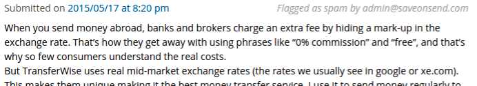 TransferWise Customer Spam on SaveOnSend blog