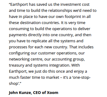 Xoom - Earthport Partnership: Description of benefits by Xoom's CEO