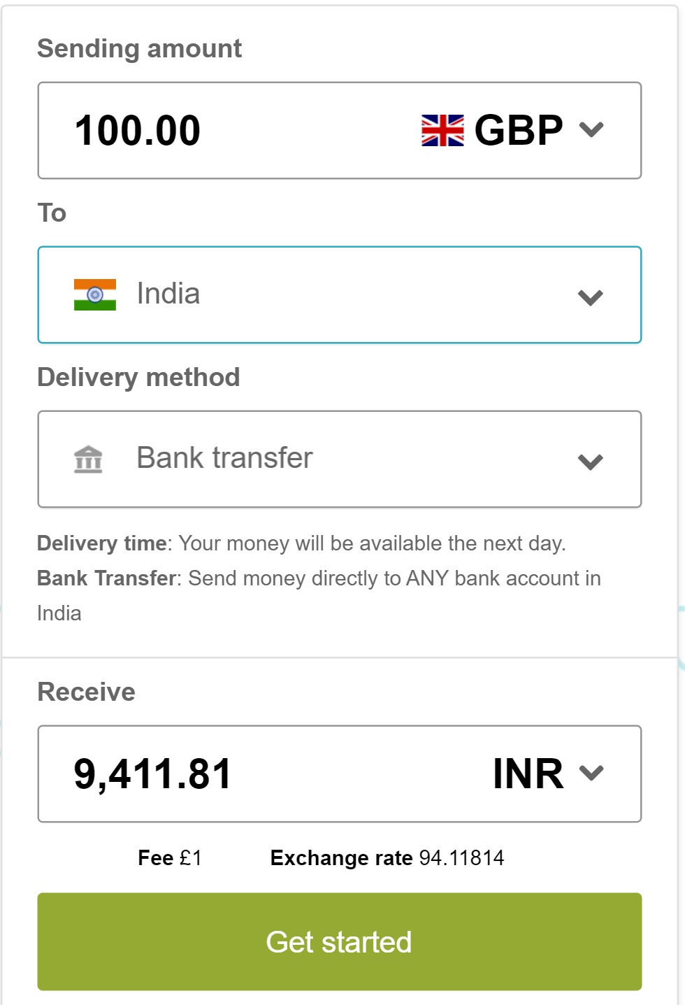Comparison of Western Union and Azimo: Sending 100GBP from UK to India via bank transfer