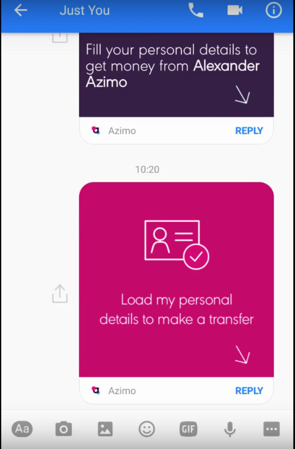 Facebook Azimo Integration Aug 2016