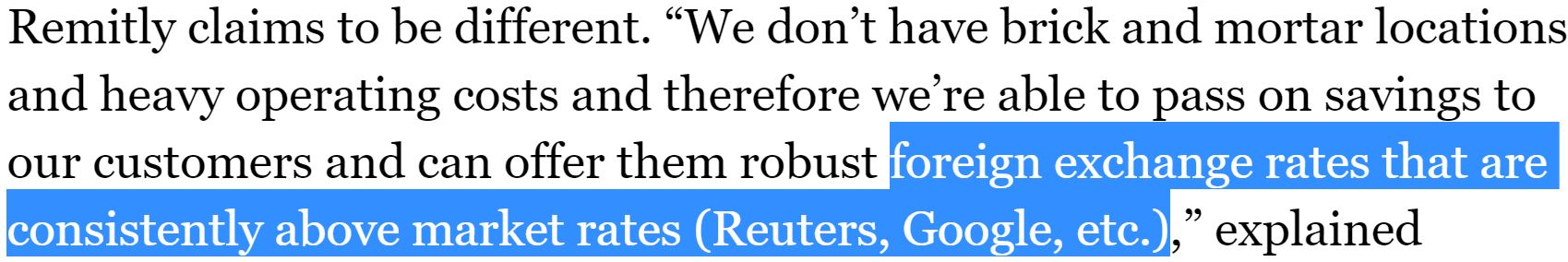 Remity Quote Above FX rates Jan 14 Forbes article