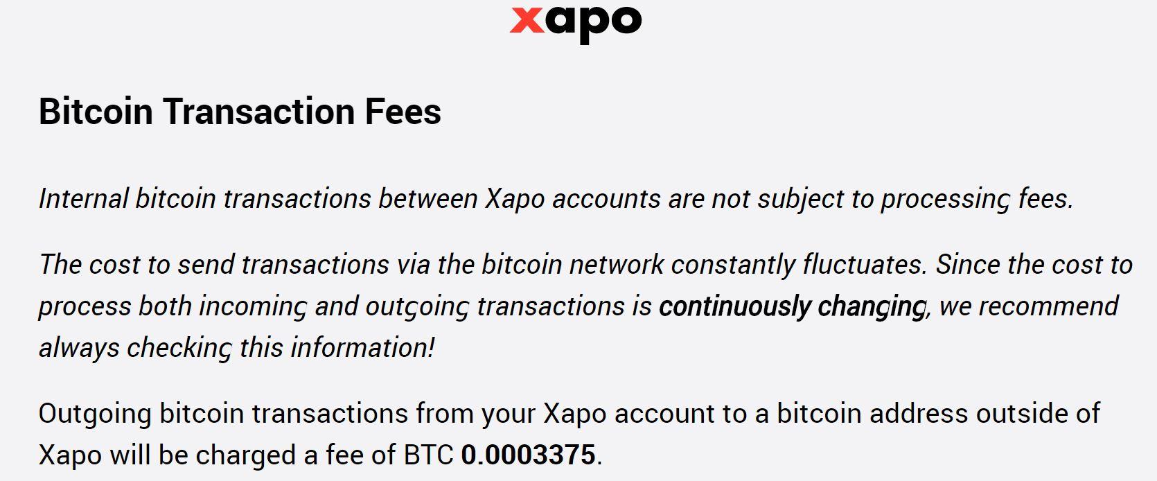 Xapo Bitcoin Fees