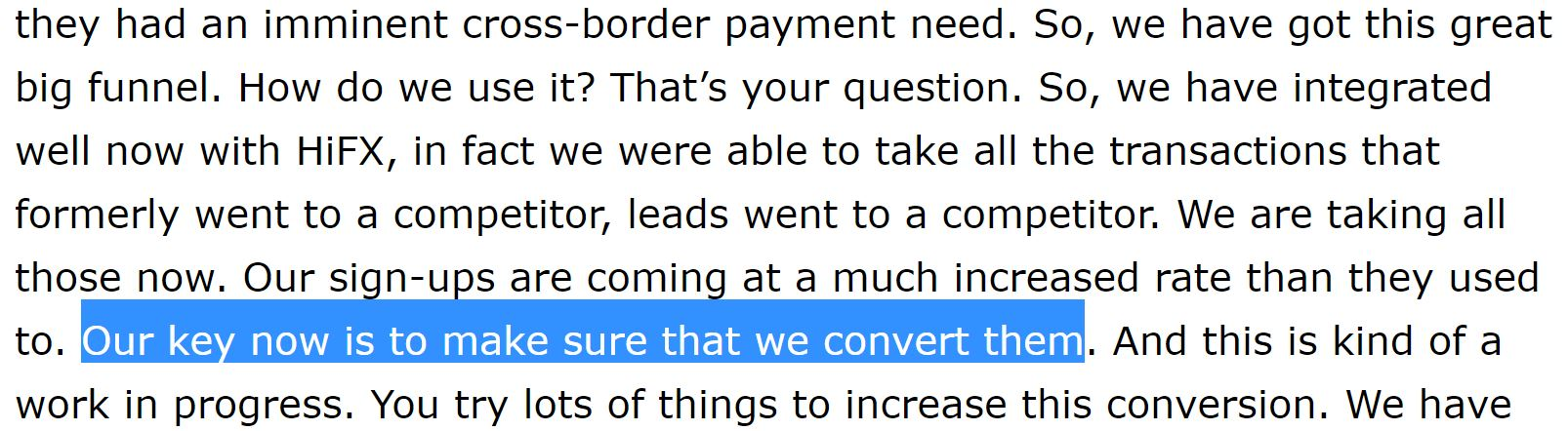 Ria Q2 Earnings Call Quote about XE conversion