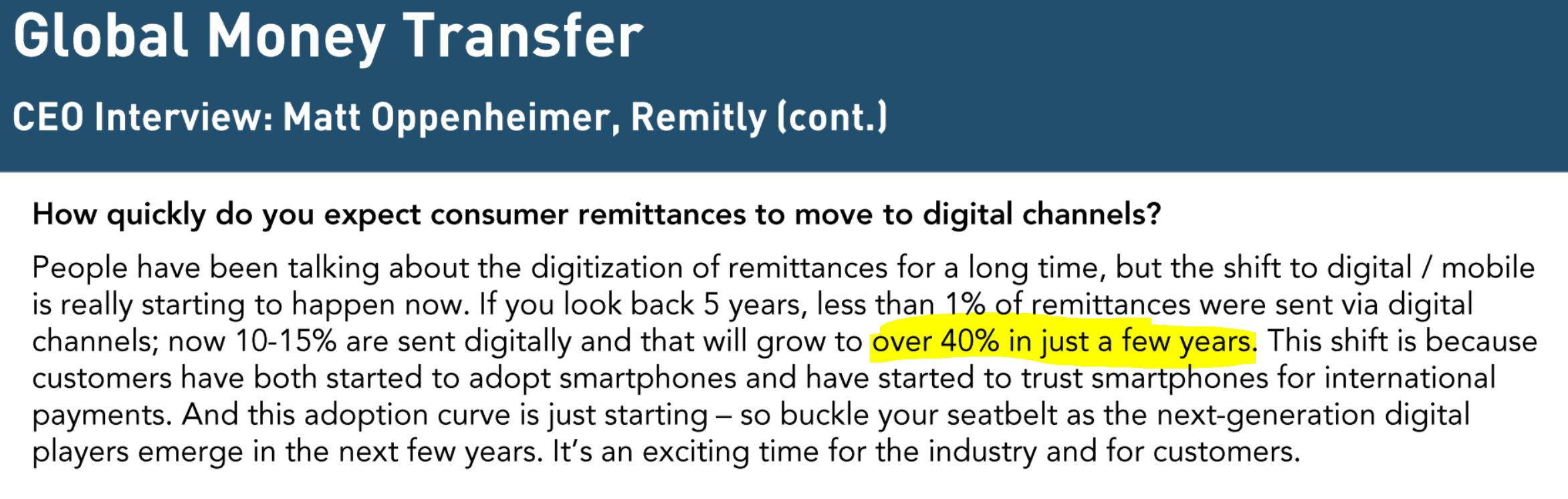 Remitly CEO quote about digital growth Aug 20, 2017